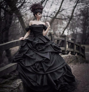 Gothic Black Wedding Dresses Ball Gown Off Shoulder Ruffles Draped Tiered Skirt Luxury Vintage 2019 Bridal Gowns Custom Plus Size