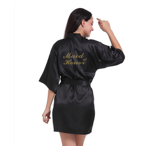 Women's Bronzing Powder Short Kimono Robe Satin Silk Bridesmaid Wedding Robes Letters Gold Glitter Print Maid of Honor Sleepwear