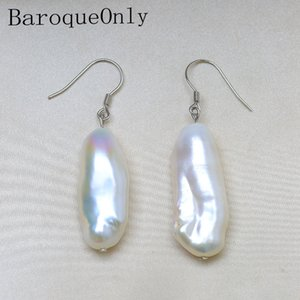 BaroqueOnly 12-29mm Baroque Pearl Earrings Natural Freshwater Pearl 925 Silver French Hook Dangle Earrings Beat Gifts ECG