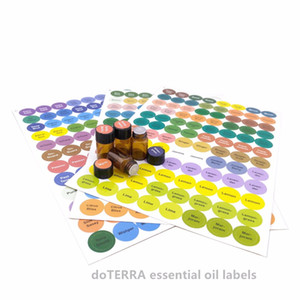 Wholesale 1set Pre printed Essential Oil Bottles Cap Lid Labels Round Circle Stickers colorful for ALL doTERRA Young Living oils organizer