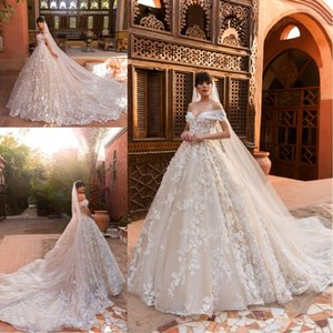 Wholesale 2019 Designer Ball Gown Wedding Dresses Off the Shoulder Full D Flowers Court Train Custom Made Bridal Gowns