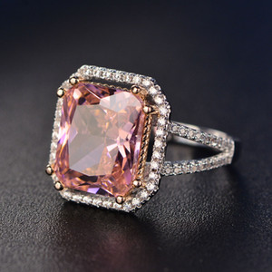 S925 Rings For Women Sterling Silver Pink Big Square Topaz Diamant Fine Jewelry Bridal Wedding Engagement Ring Luxury Bijoux Y18102510