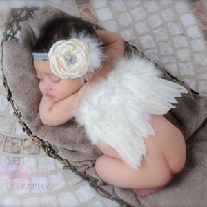 Wholesale Hot Newborn Photography Props Baby Costume Cute Infant Baby Girl Feather Angle Wings Headband Outfits Set Baby Accessories Photo Props