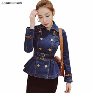 Wholesale Vintage Style Turn down Collar Denim Jacket Women Ruffle Peplum Top Ladies Spring Autumn Coats Waisted Tunic Jeans Jacket