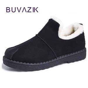 Wholesale 2018 winter boots women ankle snow boot plush fur booties black grey low flat heel rubber sole convenient cotton female shoes