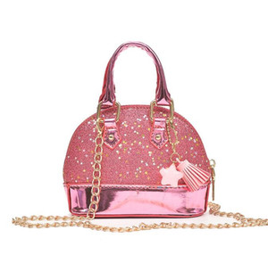 Wholesale Children Mini Shoulder Bags for Girls Shinning Glitter Purse for Toddler Kids Shell Sequin Bags with Chain Cute Handbags color KKA4835