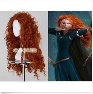 Wholesale wholesale fast free shipping Fine Women Fashion Long Heat Resistant Orange Wig Brave Merida Cosplay Anime Full Wig
