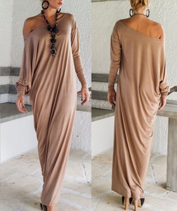 Women Maxi Dress Long Loose Ethnic One Shoulder Long Sleeve Casual Elastic Plus Size S- 2XL Spring Fashion Clothes