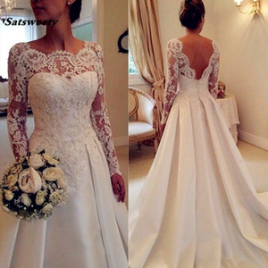 Vestido De Noiva Backless Mariage Vintage Wedding Dress 2019 Long Sleeve Court Train Satin Lace Wedding Dresses Custom made size on Sale