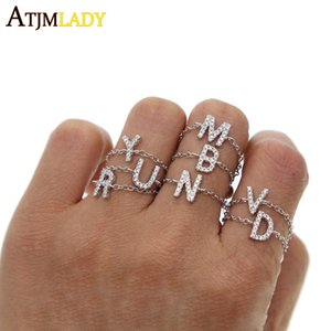 Wholesale letter DIY ring gAdjust Size chain Alphabet Rings A Z Initial Letter Name cz Rings Charm Jewelry Fashion Love Gift tiny thin