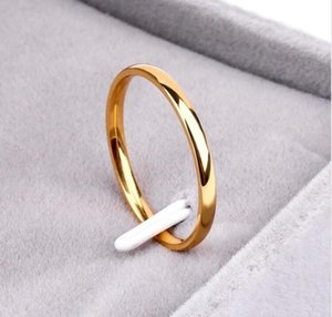 Titanium Steel Rose Gold Anti-allergy Smooth Simple Weddings Couples Ring Bijouterie for Man or Woman Gift