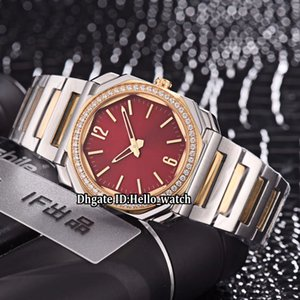 Wholesale 34mm Octo Solotempo Red Dial Swiss Quartz Womens Watch Diamond Bezel Two Tone K Gold Steel Bracelet Sapphire Fashion Lady Watches