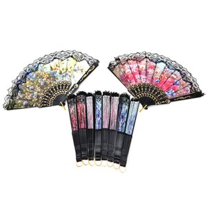 Wholesale Chinese Folding Flower Lace Hand Fan Bead Fabric Decor Colored Embroidered Flower Pattern Cloth Folding Hand Fan