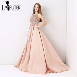 Laiputer Dusty Pink Sexy Formal Long Ball Gown Evening Prom Dress Luxury Beading 2018 New Collection C18111601