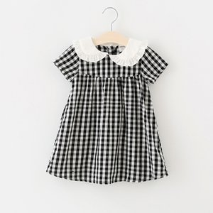 ingrosso abiti per animali domestici-2018 Abbigliamento per bambini Nuovi arrivi Ragazze Abito adorabile Abito da pet Pan Colletto a maniche corte Plaid Print Dress Cotton Girl Bambini Elegante in abito