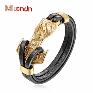 Wholesale whole saleMKENDN New Mens Bracelets Gold Leo Lion Stainless Steel Anchor Shackles Black Leather Bracelet Men Wristband Fashion Jewelry