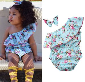 Wholesale Newborn Baby Girls Floral Romper Oblique Shoulder Bodysuit Jumpsuit Sunsuit With Headband Clothes Flower Blue Outfits Baby Clothing M