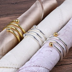 Wholesale Herringbone Napkin Buckle Back Napkin Ring Fine Double Beads Holder For Hotel Wedding Table Decoration Items