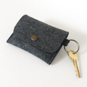 Wholesale Felt Card Holder Key Fob Pouch Key Rings Credit Card Coin Purse Portable Felt Card Holder Key Charm Mini Wallet