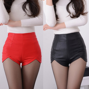 Wholesale Summer Women s Sexy PU Leather Package Hip Shorts Spring Vintage High Waist Slim Tight Zipper Black Red Irregular Short Trousers