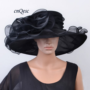 Wholesale NEW ARRIVAL Large brim Crystal Organza Hat BLACK Church Hat fedora wedding fascinator for Wedding,Kentucky Derby