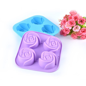 gel de eco venda por atacado-Durable Silica Gel Molde Resuable Eco Friendly Cozinha Baking Moldes Fácil de Limpar Flor Forma Bolo Silicone Ice Maker Molde dy B