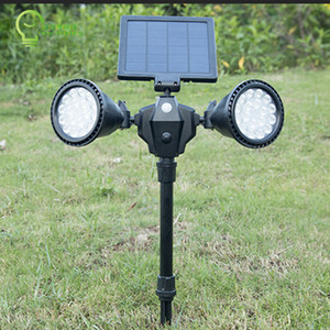 36LEDS solar powered spotlight PIR motion sensor by adjustable double heads solar pathway wall led lamp