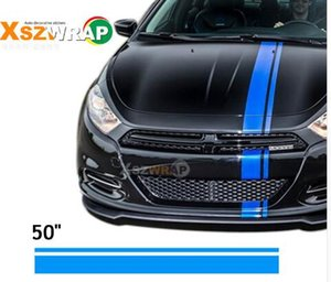 pegatina franja azul al por mayor-Car Styling Blue Vinyl Racing Stripe Decal Sticker para la decoración del coche Fender Hood Roof Side Trunk Skirt Bumper