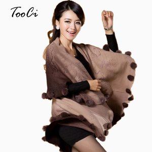 Wholesale New Fashion Women Long Rabbit Fur Ball Faux Fur Coat Cardigan Womens Wool Cashmere Imitation Poncho