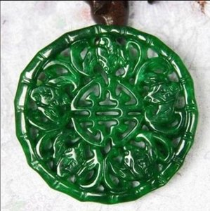 Burma jadeite with hollow out green jade brand Send jade necklace