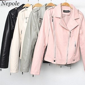 Wholesale Neploe Faux Leather Moto Biker Women Jacket Fashion Cool Zippers Women Coat New Auttum Large Size Chic Parkas