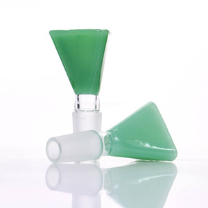 Jade conical glass bowl blue duck green jade 14mm 18mm for glass water pipe or bong bubbler