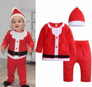 Wholesale 2018 fall winter baby christmas clothes unisex kids boutique clothing sets santa toddler outfits boys girls fleece hat tshirts pants piece