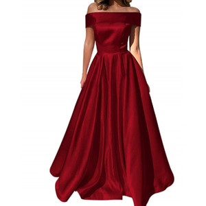 Wholesale Off The Shoulder Evening Dresses Satin Prom Party Dress A-Line Long with Pocket Formal Gown prom long elegant dresses vestido formatura