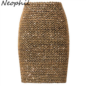 Wholesale Neophil Spring Women Sequined Patchwork Shinny Pencil Mini Skirts High Waist Black Party Sexy Bandage Girls Long Saia S1802