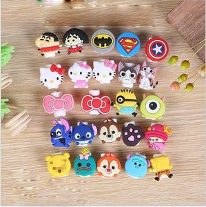 Wholesale DHL Multi Patterns Cartoon USB Cable Earphone Protector Headphones Line Saver For Mobile Phones Tablets Charging Cable Data Cord