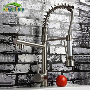 Wholesale Nickel Brushed Solid Brass Kitchen Faucet With Hot amp Cold Switch Kitchen Tap Vessle Mixer Tap Dual Sprayer Pull Down Tap