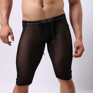 New Design Sold Colors Male's See Through Briefs Transparent Boxer Elastic Underwear Shorts Mesh Protective Crotch Five Pants