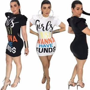 Wholesale New Fashion Funny Letter Printed Women Dresses Short Sleeve Bodycon Sexy Tee Shirt Mini Dress Streetwear