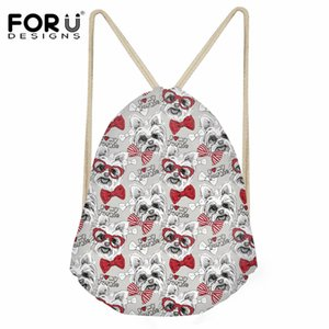 Wholesale FORUDESIGNS Casual String Backpack for Girl Yorkshire Terrier Pattern Drawstring Bag Women Lady Fashion Beach Shoes Storage Bag