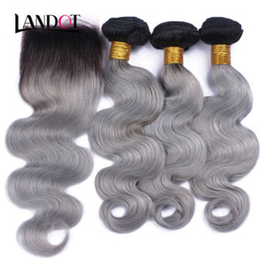 Wholesale greying hair for sale - Group buy 9A Ombre Brazilian Virgin Human Hair Weaves Bundles With Lace Closures Body Wave Ombre B Grey Peruvian Malaysian Indian Hair Extensions