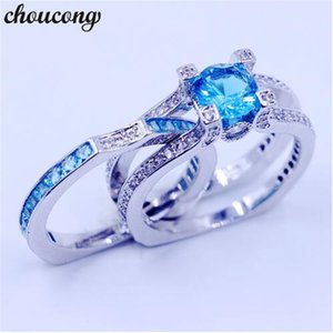 Wholesale blue zircon rings resale online - choucong women Wedding Bridal sets ring Sky blue A zircon cz Sterling Silver Birthstone Engagement Band Rings for women men