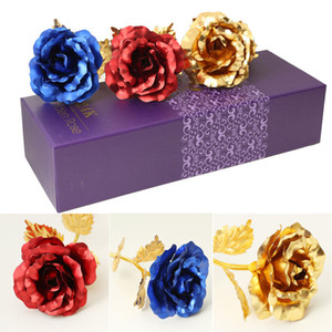Wholesale Lover s Flowers K Golden Rose Wedding Decoration Flower Valentine s Day Gift artificial flower Red Pink Purple Blue