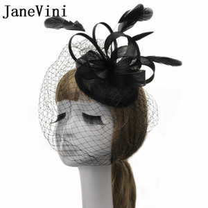 Wholesale Elegant Black Feathers Birdcage Veil Bride Hat With Hair Pin Beige Mesh Bridal Hats Wedding Wedfing Fancinetor