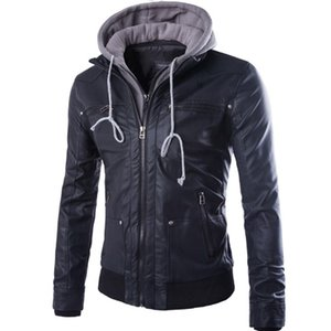 Wholesale Loldeal Leather Jacket black Male Motorcycle Polar Fleece Hooded Detachable PU Faux Leather Coat Men Biker Jacket