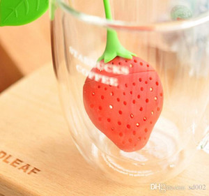 Wholesale Cute Strawberry Design Tea Strainer Silicone With Belt Lanyard Creative Food Grade Light Weight Portable Teas Tools fr ii