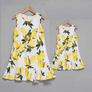 2018 Family Matching Outfits Mother and Daughter Summer New Fruit Printing Jumper Dress Princess Dresses 4Colors