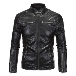 New  Mens Motorcycle Jacket PU Leathe Stand Collar Slim Fit Thin Lightweight Classic Biker Punk Moto Jacket Coat Size M-5XL
