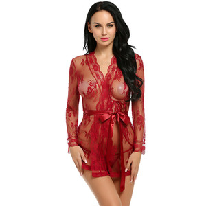Wholesale sex long gown for sale - Group buy Long sleeve Sexy Lingerie Robe Dress Women Lingerie Sexy Hot Erotic Plus Size Nightwear Sex Costumes Kimono Bathrobe Dressing Gown