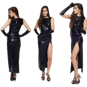 Wholesale 2017 Fetish Black Vinyl Leather Bodysuit Lingerie Dress Erotic Bondage Latex Long PVC Dress Gloves Clubwear sexy